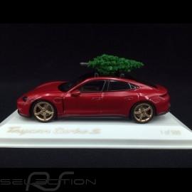 Porsche Taycan Turbo S 2020 carmin rot mit Weihnachtsbaum 1/43 Minichamps WAP0200000MPLG