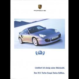 Porsche Broschüre Das 911 type 996 Turbo Coupé Swiss Edition (sehr selten) 02/2004 in Deutsch CH2793