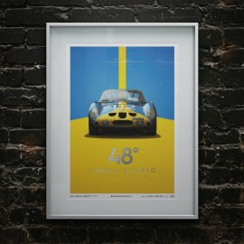 Poster Ferrari 250 GTO Blau Targa Florio 1964 Limitierte Auflage