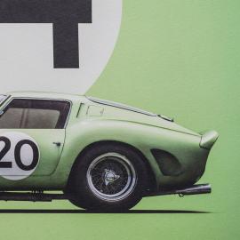 Ferrari Poster 250 GTO Grün 24h Le Mans 1962 Limitierte Auflage