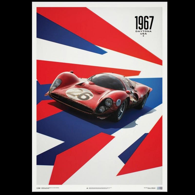 Ferrari Poster 412P Rot 24-Stunden-Rennen von Daytona 1967 Limitierte Auflage