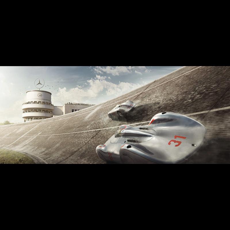 Luxusrahmenkunstwerk Duo Mercedes Benz W125 Auto Union Type C 50 x 24 cm