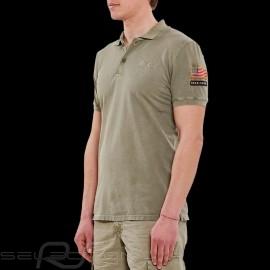 Steve McQueen Poloshirt US Star & Stripes Khaki grün - Herren