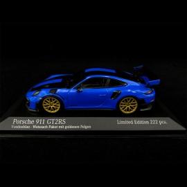 Porsche 911 GT2 RS Type 991 Weissach 2018 Voodoo Blue Black Gold 1/43 Minichamps 413067233