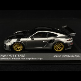 Porsche 911 GT2 RS Type 991 Weissach 2018 Silver Metallic Black Gold 1/43 Minichamps 413067231