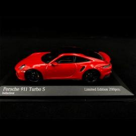 Porsche 911 Turbo S Type 992 2020 Rot Schwarz 1/43 Minichamps 413069479 - Exklusivmodell