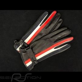 Fahren Handschuhe Gulf  Racing Schwarz Leder 2-farbe streifen