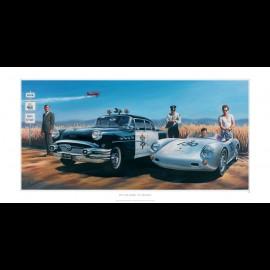 Porsche 550 James Dean Cary Grant Original Zeichnung von Benjamin Freudenthal