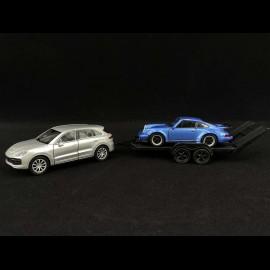 Pullback Set Porsche Cayenne Turbo mit Anhänger und 911 Turbo 1/43 Welly MAP01093020