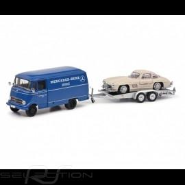 Duo Transporter Mercedes-Benz L319 und Mercedes 300 SL 1955 Weiß 1/43 Schuco 450253900
